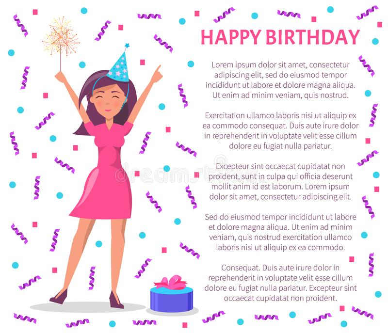 庆祝特别日子海报的生日快乐妇女 皇族释放例证