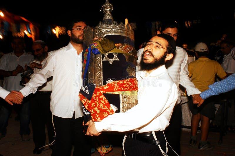 庆祝犹太节假日Simchat Torah 库存图片