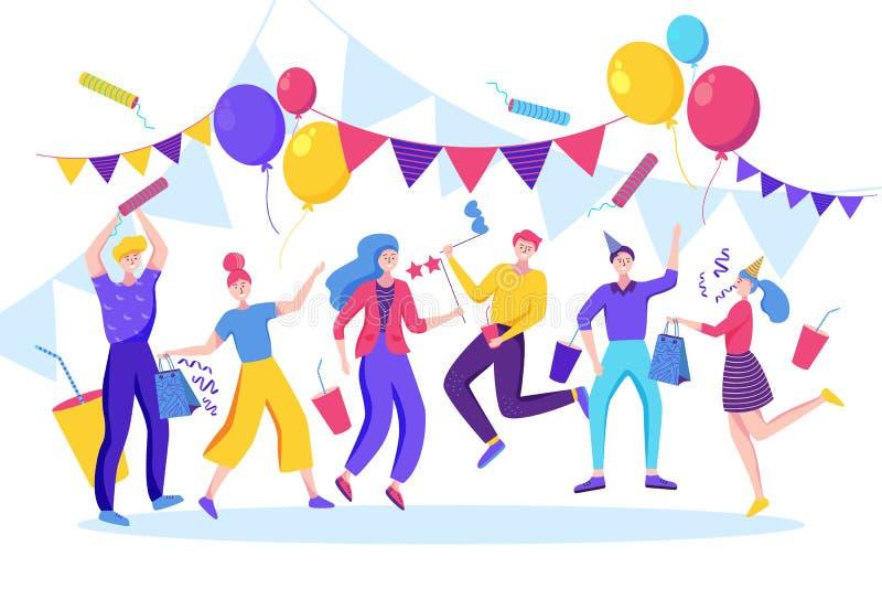 庆祝生日、新年或者另一个假日事件的愉快的人民 o 向量例证