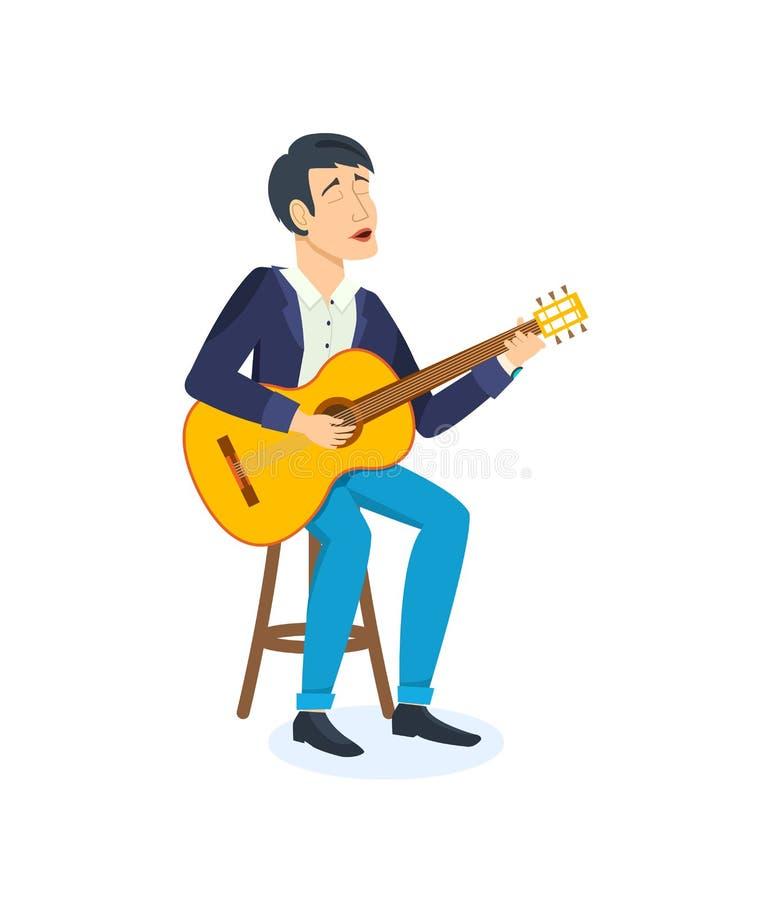 庆祝生日的年轻人情感地唱与吉他的歌曲 向量例证