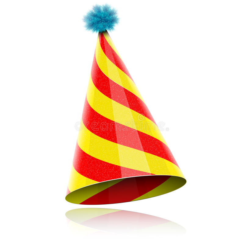 庆祝的五颜六色的光滑的帽子。 库存图片