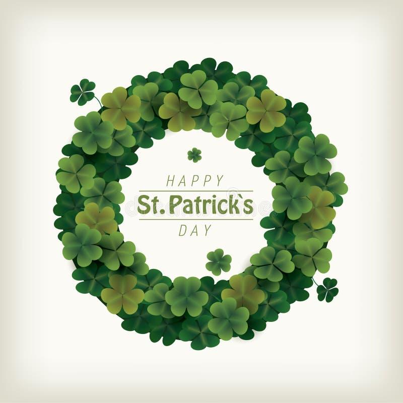 庆祝的圣帕特里克` s天三叶草花圈 向量例证