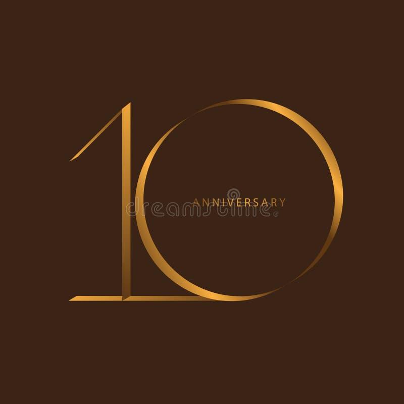 庆祝的手写,数字第10年周年,邀请卡片的豪华二重奏口气金子褐色,生日, ba周年  皇族释放例证