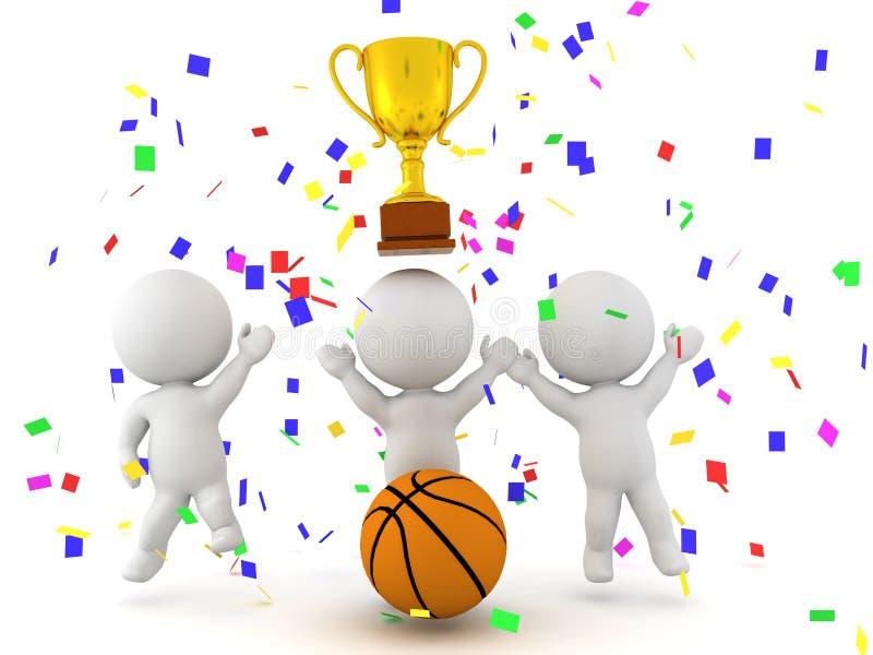 庆祝篮球比赛的胜利的三个3D字符 向量例证