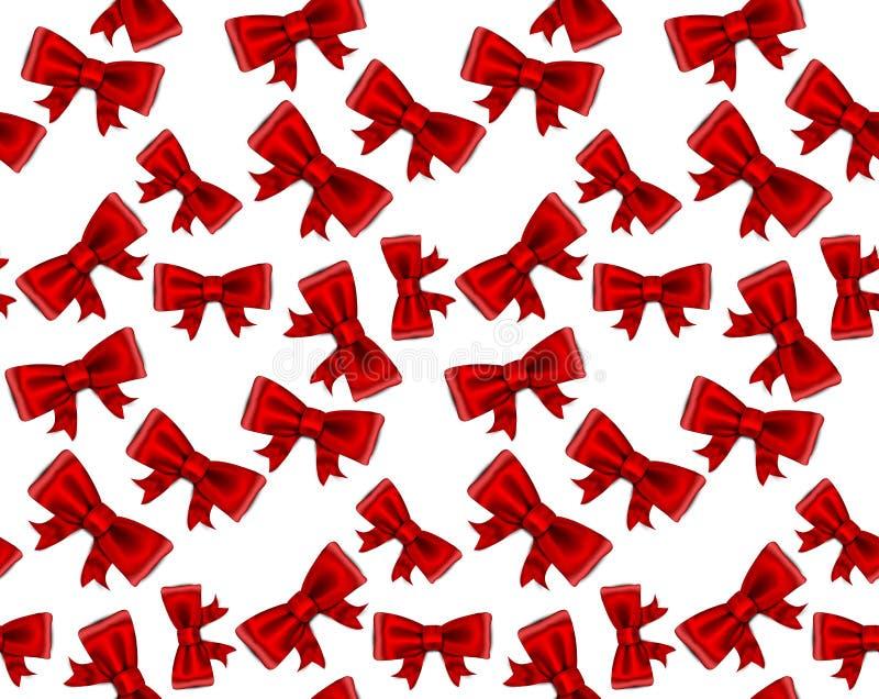 庆祝红色弓无缝的背景。 向量例证