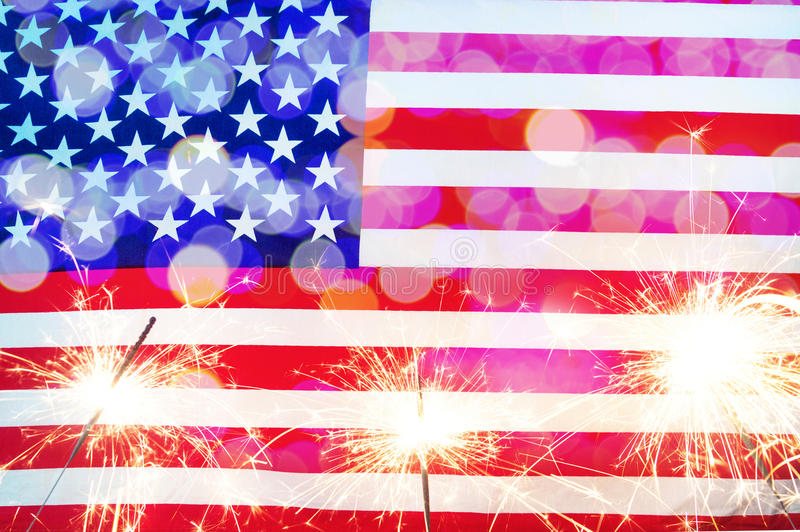 庆祝美国独立日 美利坚合众国美国旗子 免版税库存图片