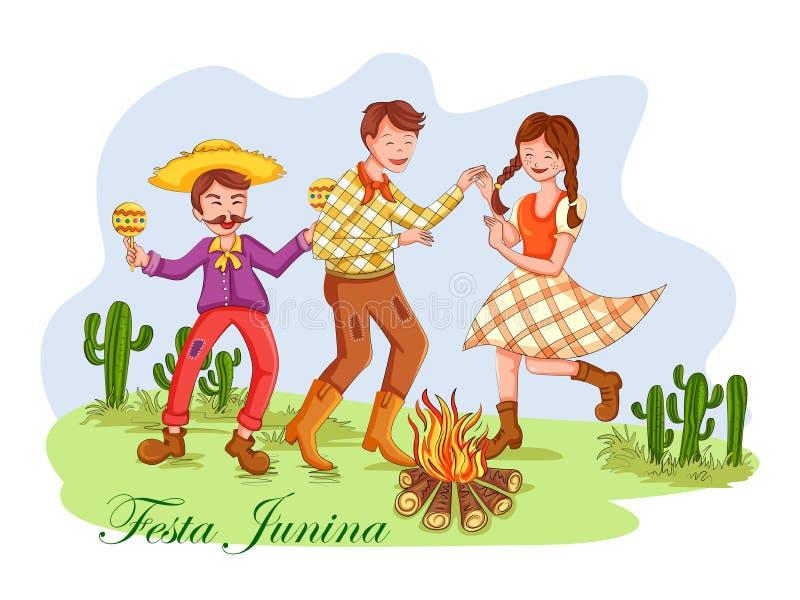庆祝费斯塔Junina每年巴西节日的巴西的人 库存例证