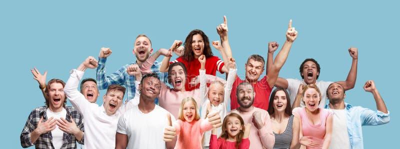 庆祝赢取的成功愉快的男人和的妇女拼贴画是优胜者 库存照片