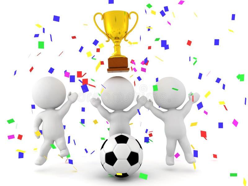 庆祝足球橄榄球的胜利的三个3D字符 库存例证