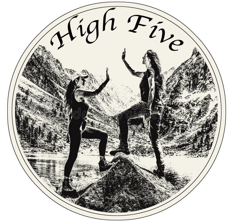 庆祝高五的两个女性朋友 免版税图库摄影