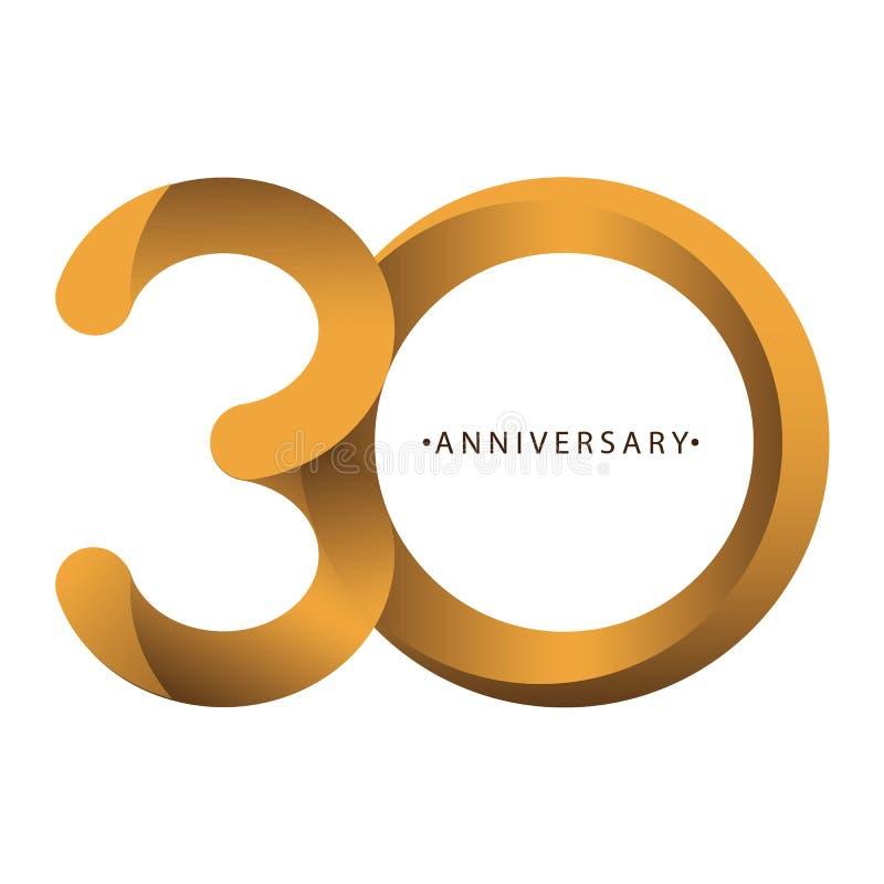 庆祝,数字第30年周年,生日周年  豪华二重奏口气金子褐色 皇族释放例证