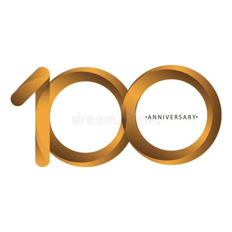 庆祝,数字100th年周年,生日周年  豪华二重奏口气金子褐色 皇族释放例证