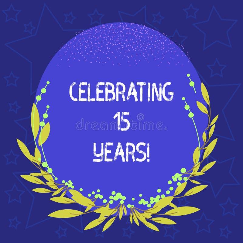 庆祝15年的概念性手文字陈列 陈列企业的照片纪念一特别日子在15年以后 皇族释放例证