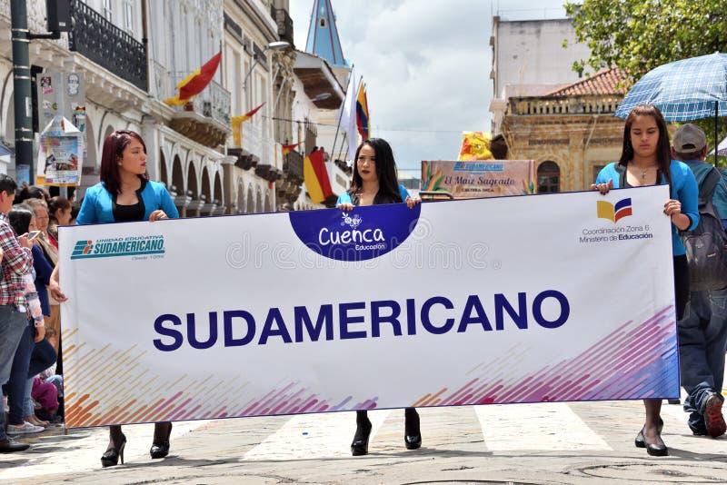 庆祝460年昆卡省` s基础,厄瓜多尔 免版税库存图片