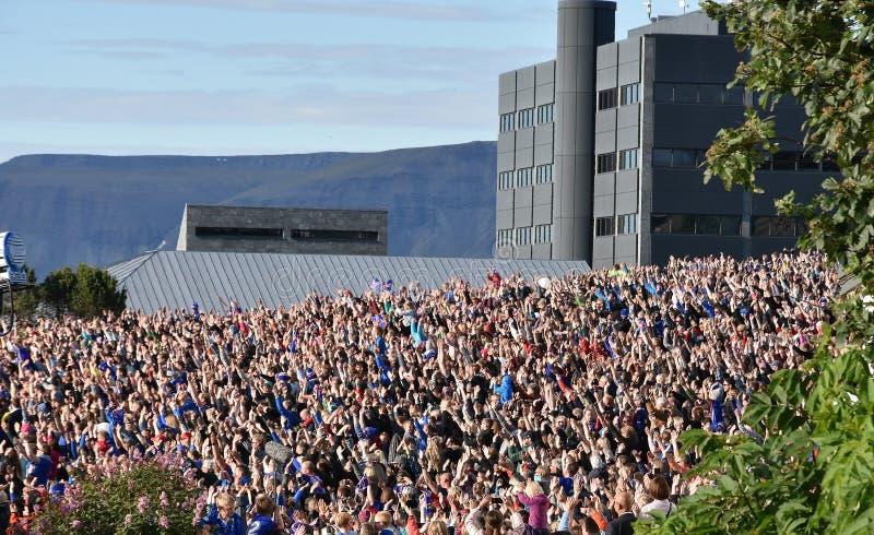 庆祝他们的足球队员的冰岛爱好者 免版税库存图片