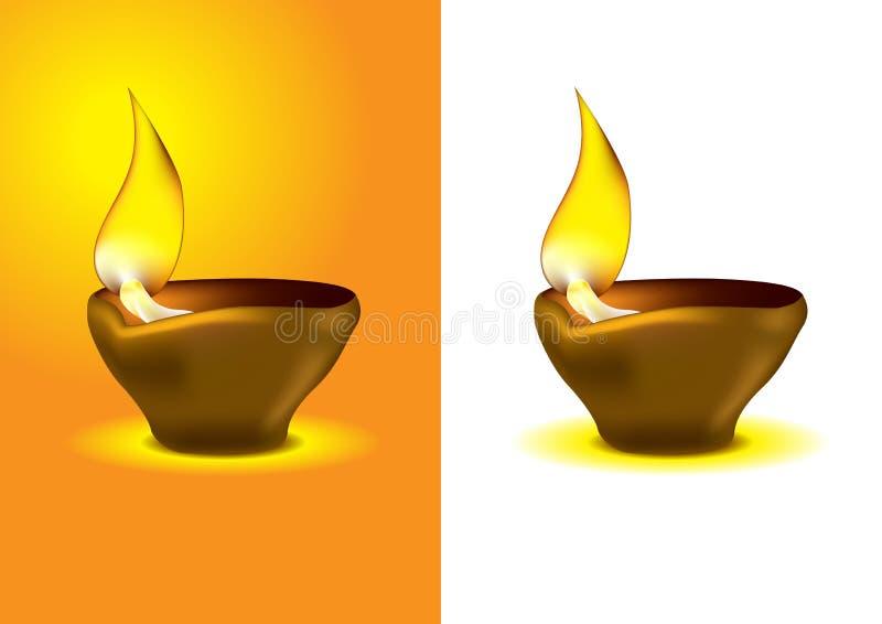 庆祝dipawali diwali diya闪亮指示油 库存例证