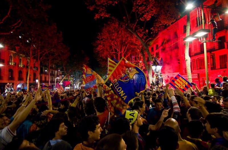 庆祝fc支持者胜利的巴塞罗那 库存照片