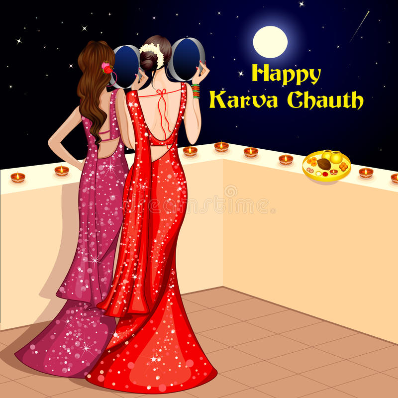 庆祝Karwa Chauth的印地安夫人 向量例证
