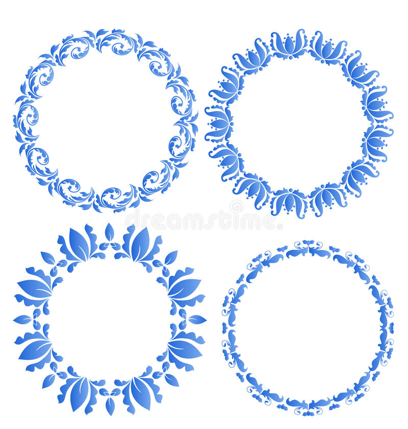庆祝po您的设计的集合花卉华丽圆的框架  向量例证