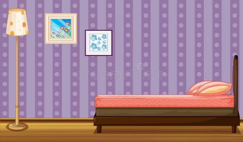 床、灯罩和绘画 向量例证