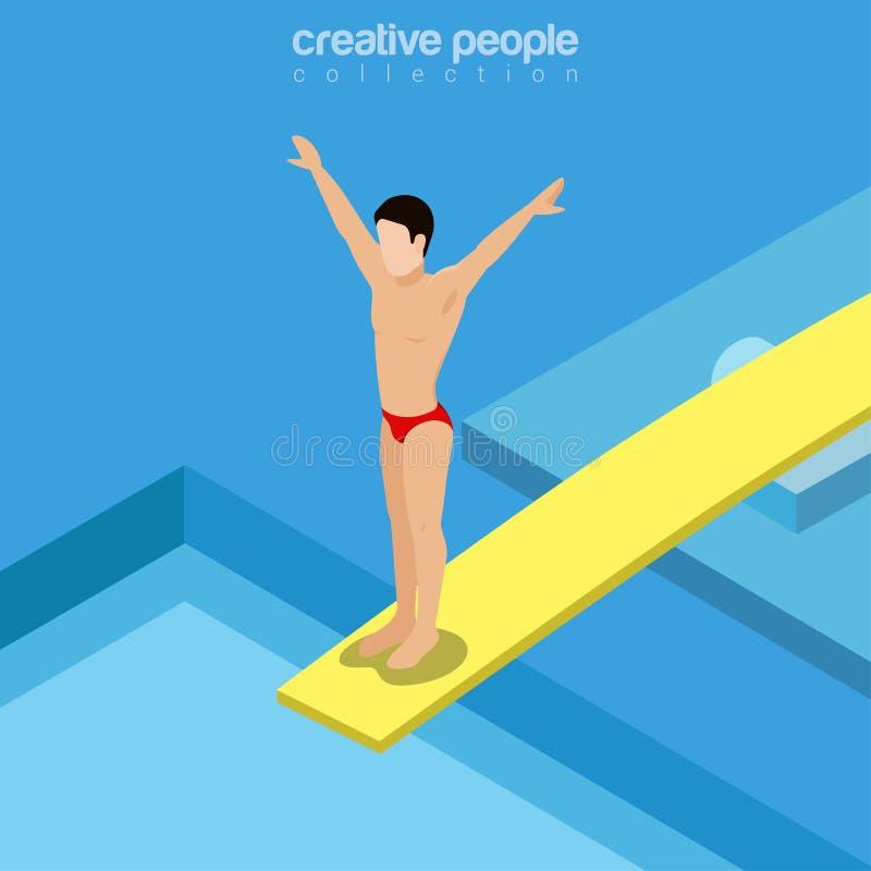 绷床传染媒介体育的平的等量游泳者 向量例证