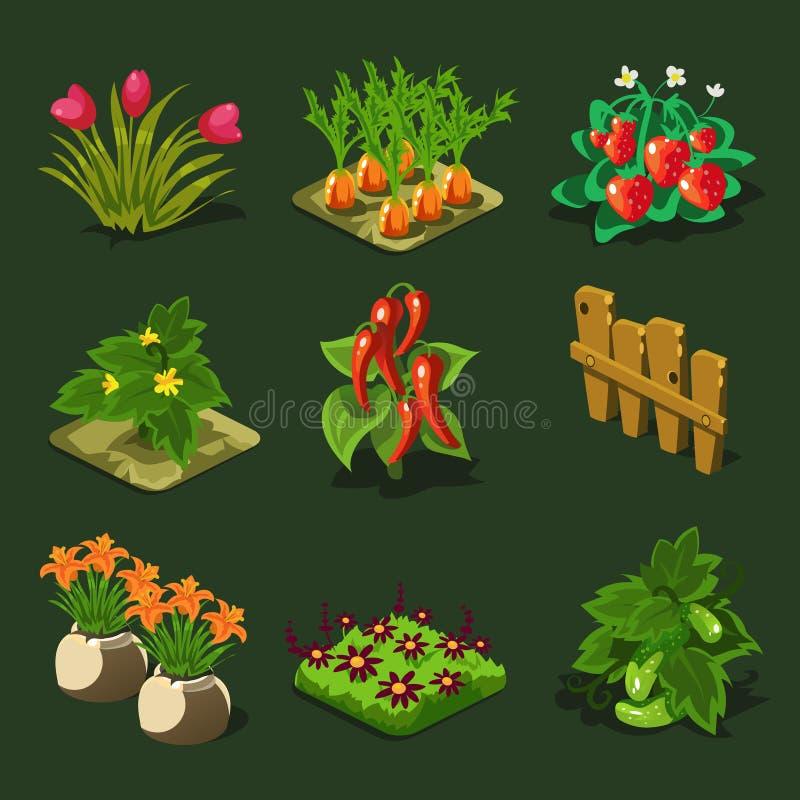 床和其他元素的农场 库存例证