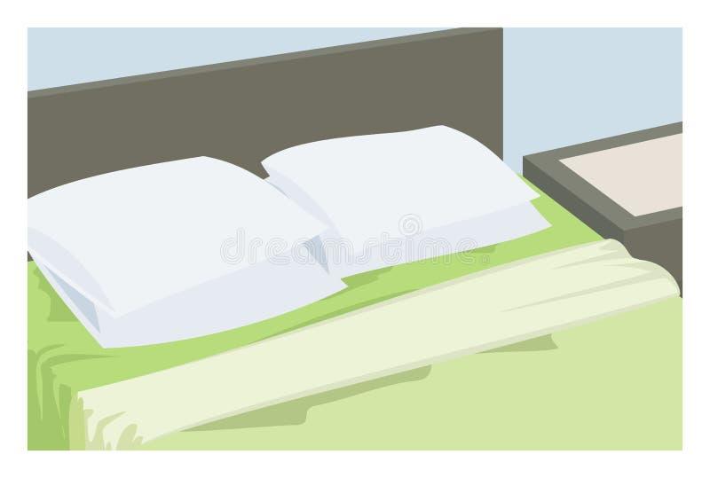 床和枕头简单的例证 库存例证