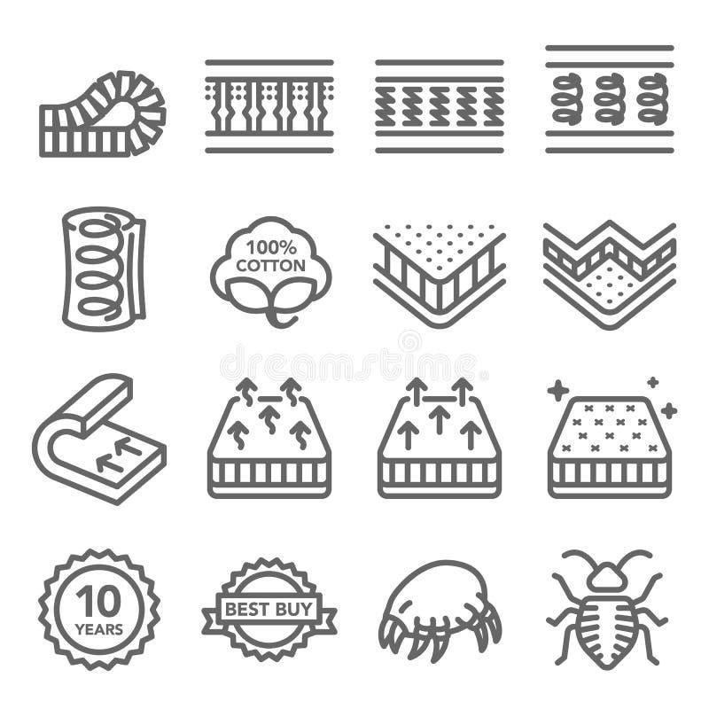 床垫传染媒介线象集合 里面和更包含这样象作为棉花,尘土小蜘蛛,床铺臭虫,床层数 膨胀的冲程 库存例证