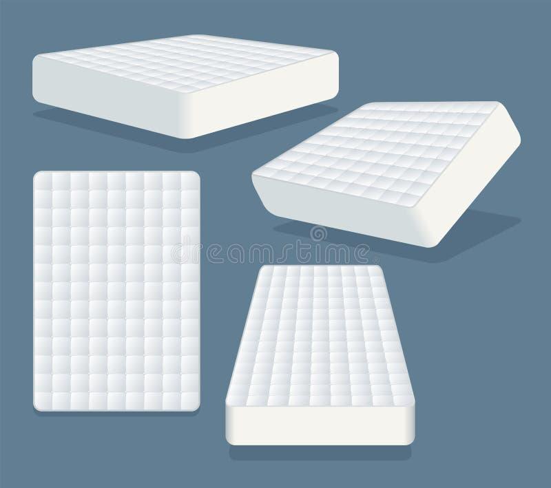 床垫用不同的位置 睡觉的现代矫形软的床垫 皇族释放例证