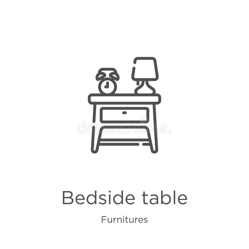 床头柜从家具汇集的象传染媒介 稀薄的线床头柜概述象传染媒介例证 概述,稀薄的线 向量例证