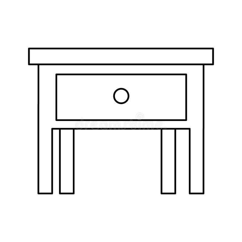 床头柜被隔绝的象剪影  库存例证