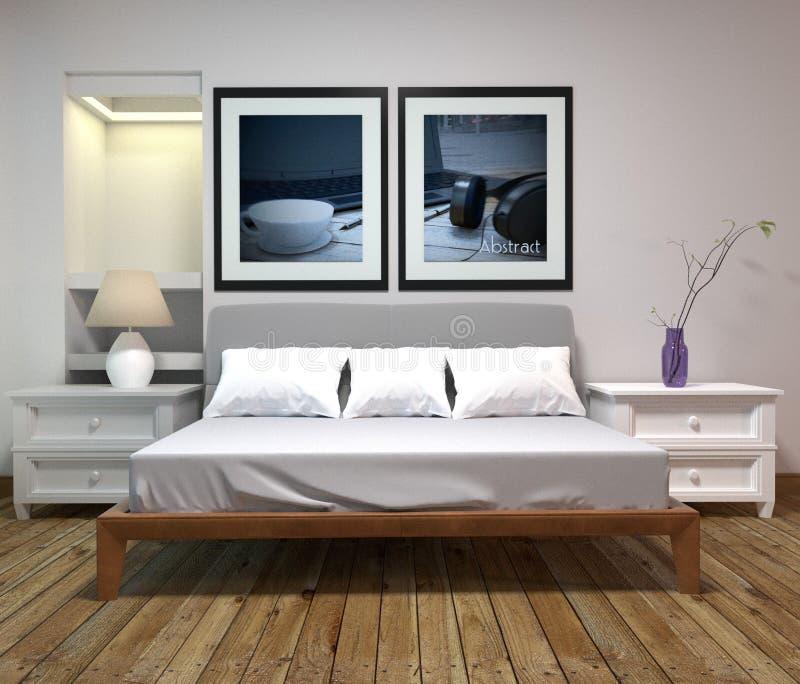 床室内部-经典样式-原始的室样式 3d?? 库存例证