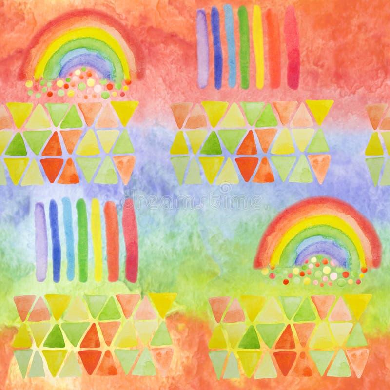 床布料的,纸巾,党设计充满活力的背景 与手拉的彩虹的明亮现代无缝的样式和多雨 库存例证