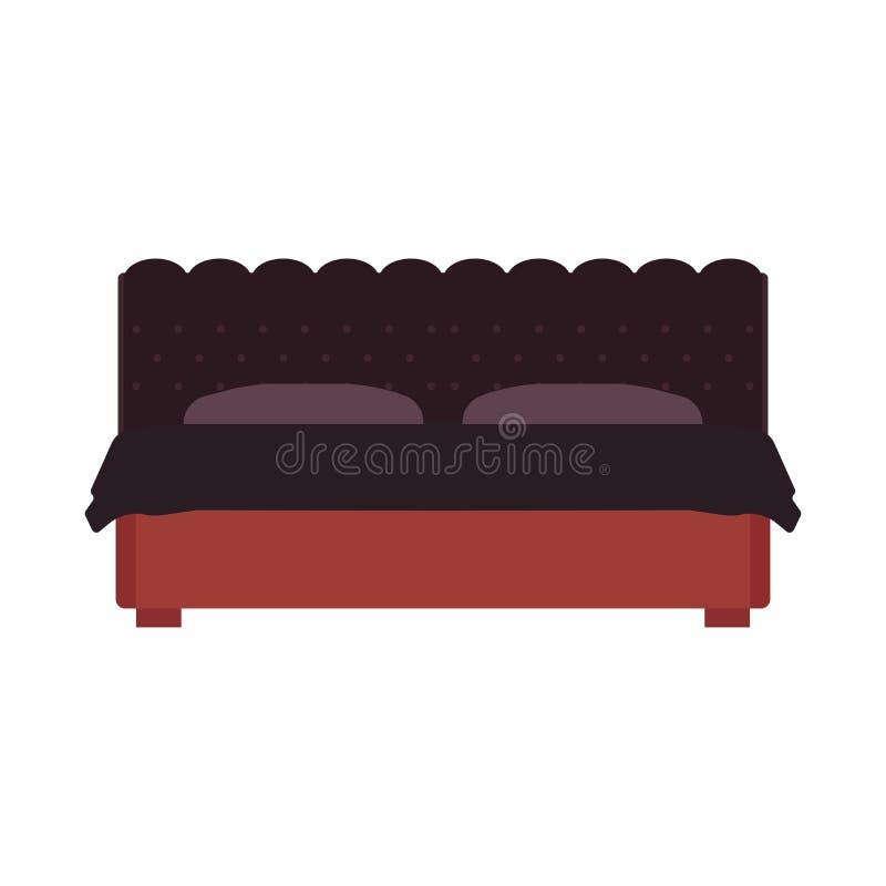 床正面图传染媒介卧室动画片家具家 睡眠内部旅馆休息平的鸭绒垫子简单的平的公寓 库存例证