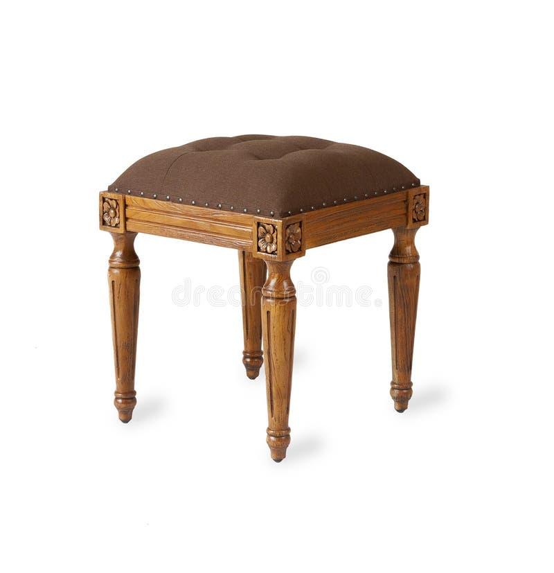 床边在白色背景的凳子椅子 免版税库存照片