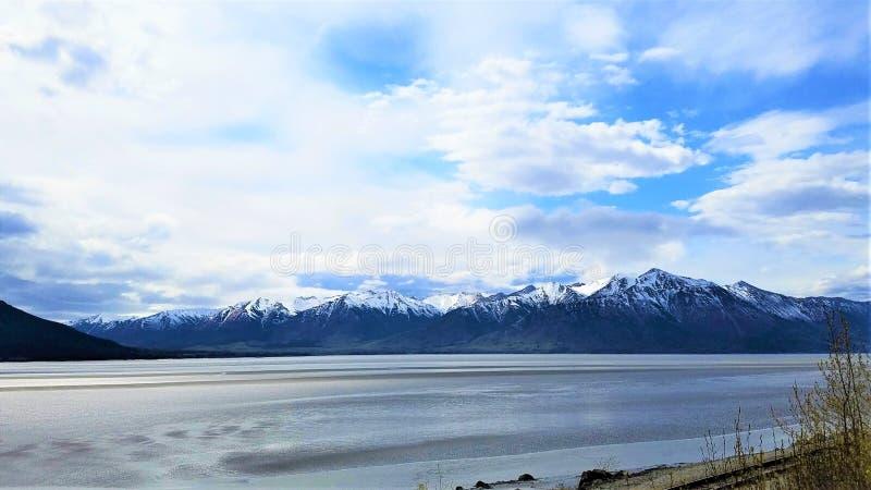 库克湾和雪被打翻的Chigmit Mts 库存照片
