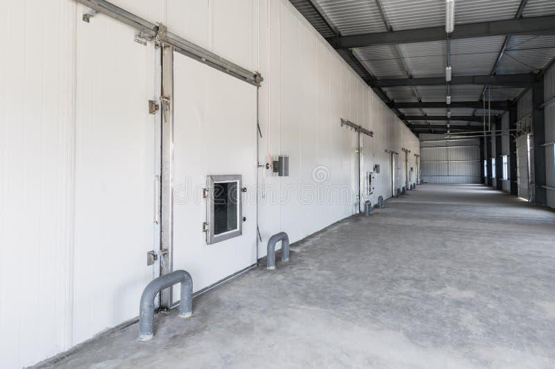 仓库冷冻机在工厂 库存照片