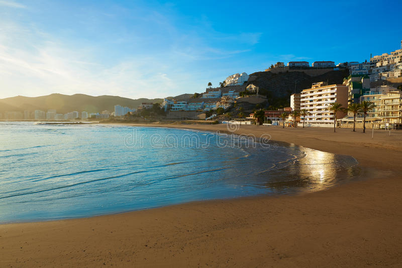 库列拉角Playa los Olivos海滩日落在巴伦西亚 库存照片