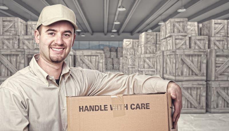 仓库和交付人 向量例证