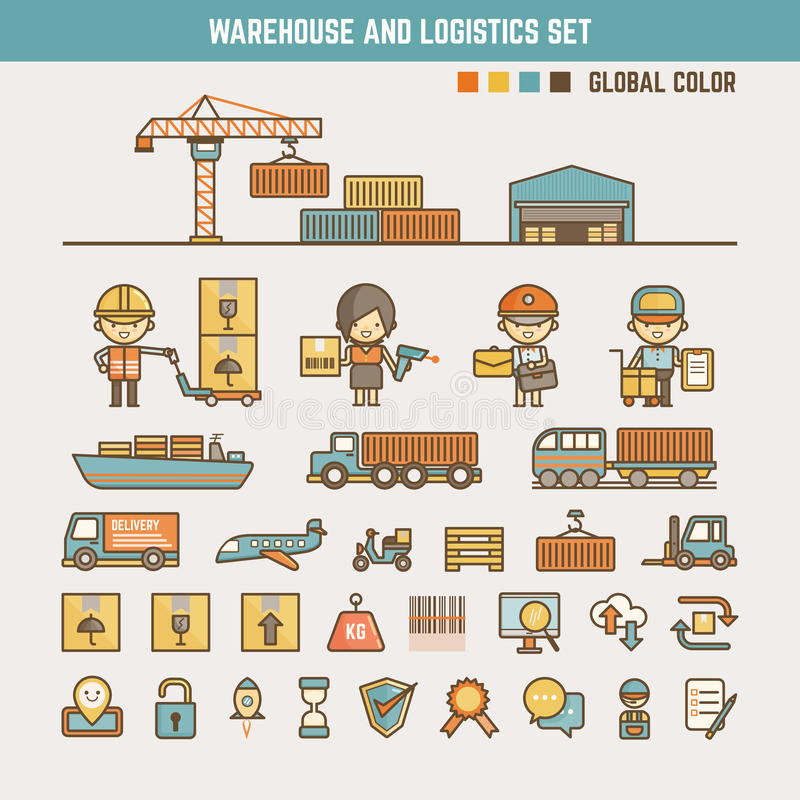 仓库和后勤学infographic元素 向量例证