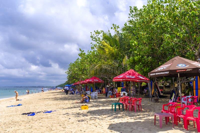 库塔海滩在巴厘岛 库存图片