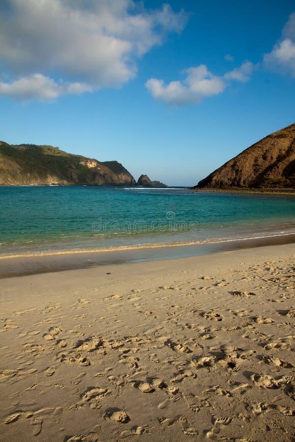 库塔龙目岛Mawun海滩印度尼西亚 免版税库存照片