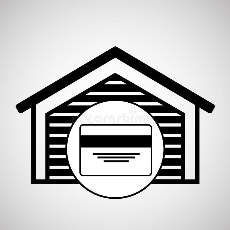 仓库大厦信用卡银行象 向量例证