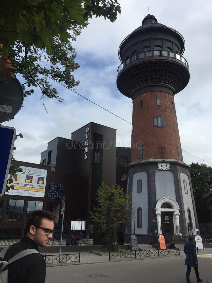 库尔斯沙嘴加里宁格勒Zelenogradsk灯塔博物馆 库存照片