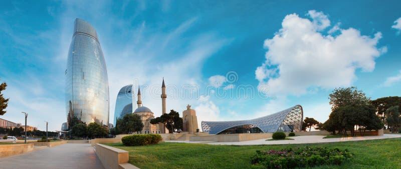 巴库市,阿塞拜疆全景  免版税库存图片