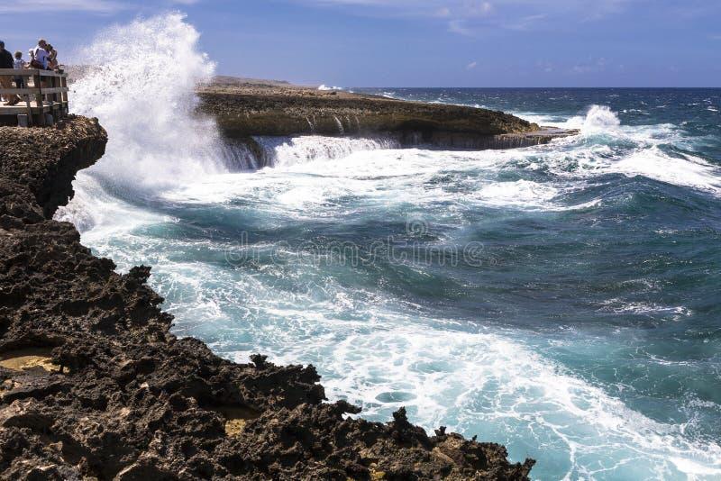 库拉索岛的风大浪急的海面 免版税库存照片