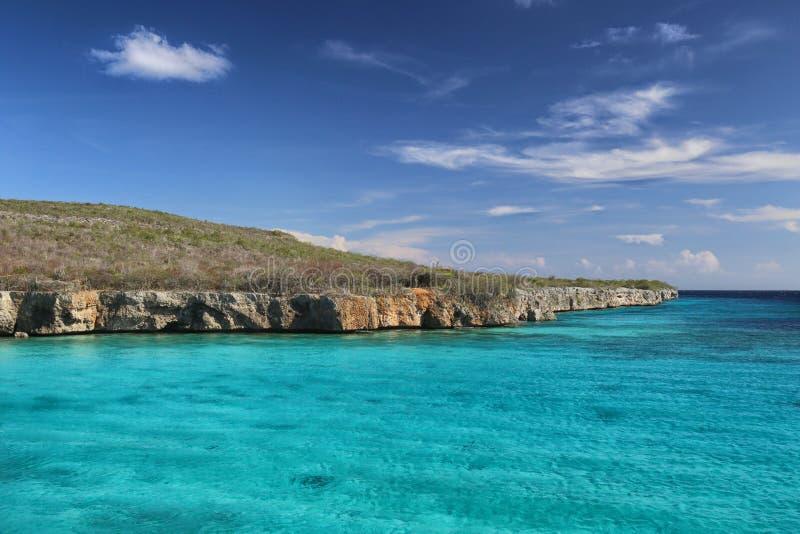 库拉索岛:加勒比蓝色海 免版税图库摄影