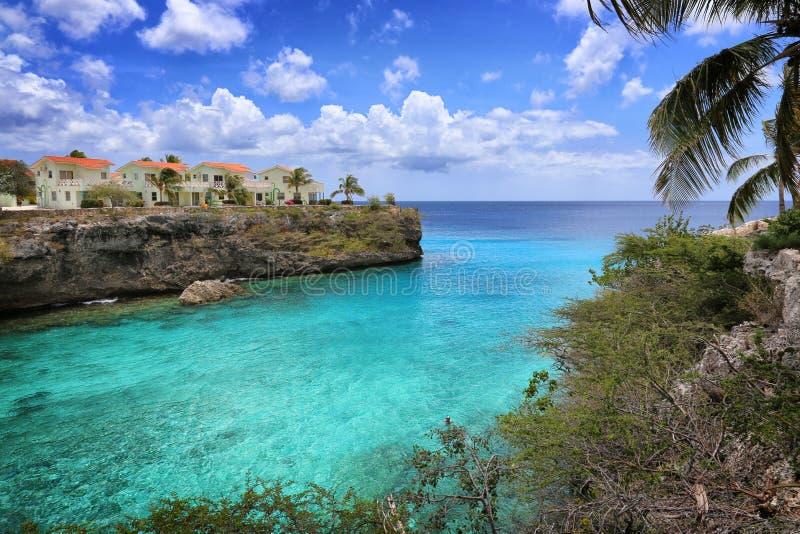 库拉索岛:加勒比蓝色海 库存图片