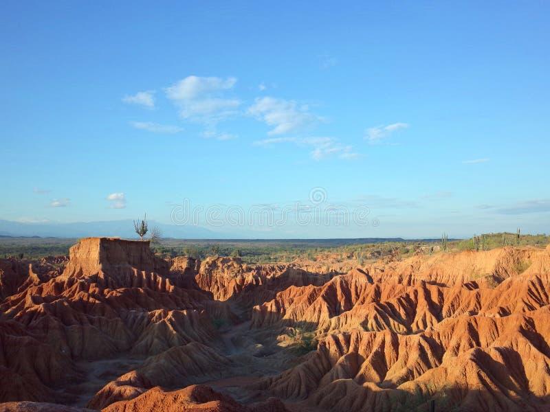 库斯科省火星的风景,红色沙漠,一部分的哥伦比亚` s Tatacoa沙漠 库存图片