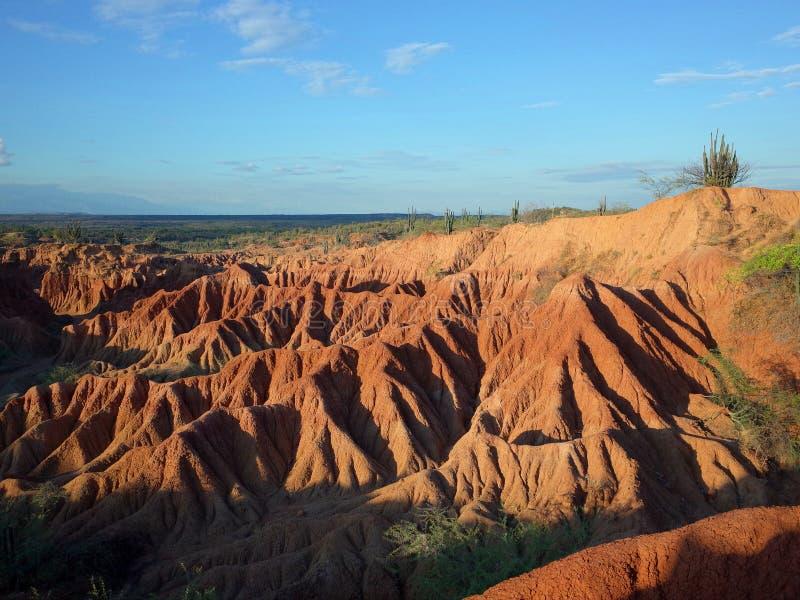 库斯科省火星的风景,红色沙漠,一部分的哥伦比亚` s Tatacoa沙漠 图库摄影